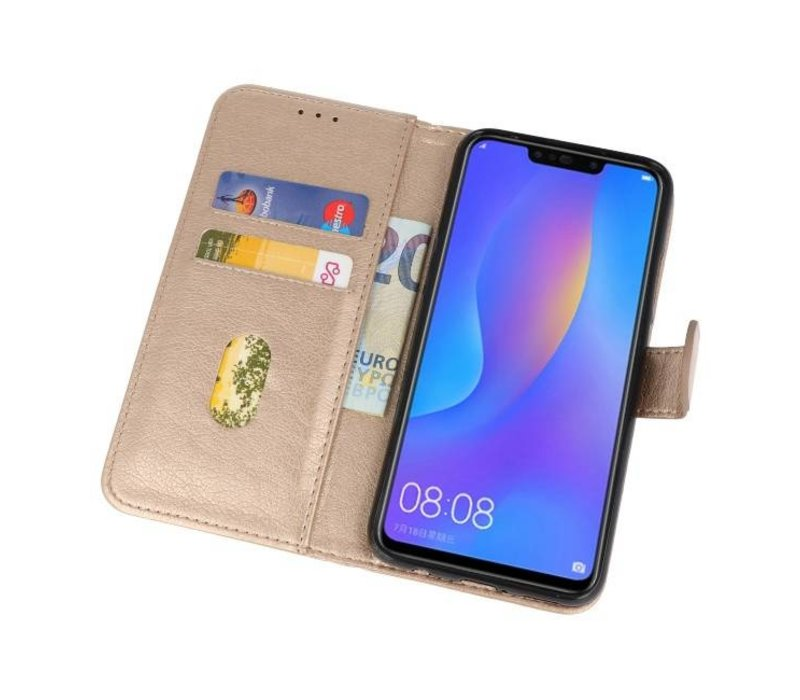 Bookstyle Wallet Cases Hoes voor Huawei P Smart Plus Goud