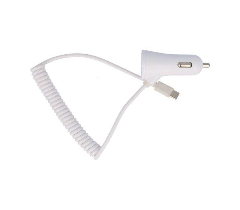 Autolader met 2 USB 3.1A voor TYPE C Telefoon