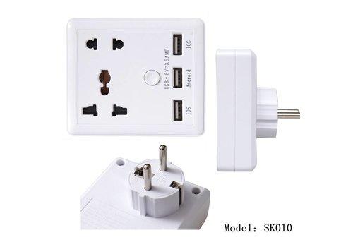 International Euro Adapter-thuislader met 3 USB 3.5 Ampere