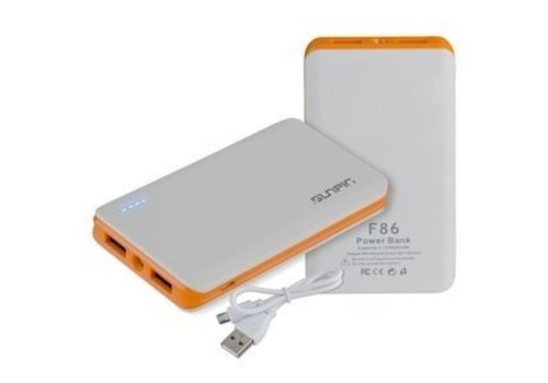 Sunpin Power Bank F86 Capacity: 3.7V / 8600mAh Wit/Orange