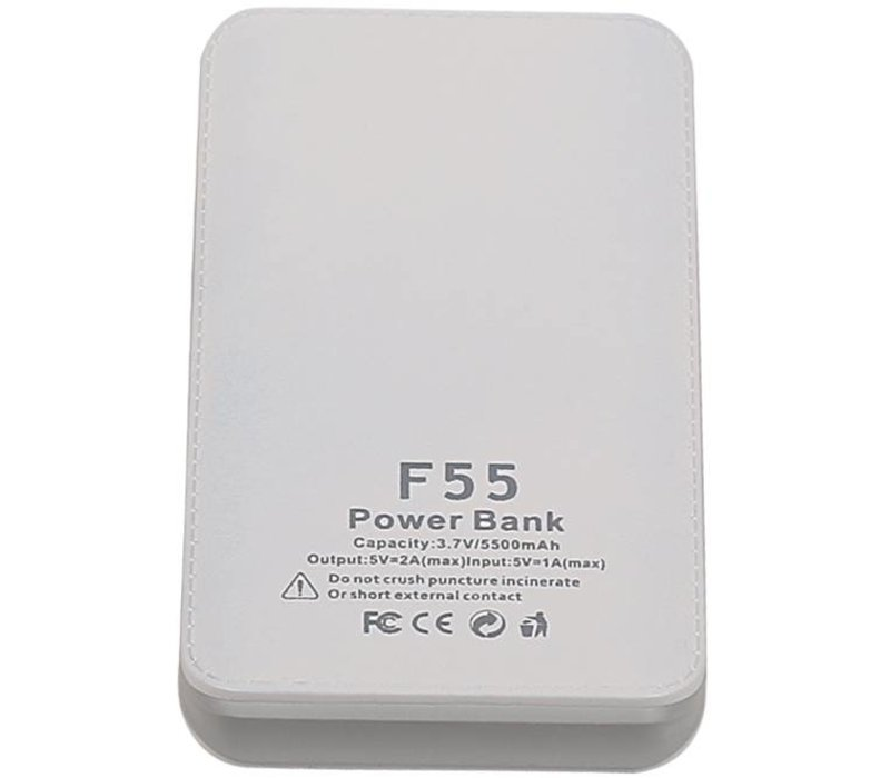 Sunpin Power Bank F55 Capacity:3.7V/5500mAh Wit/Grijs