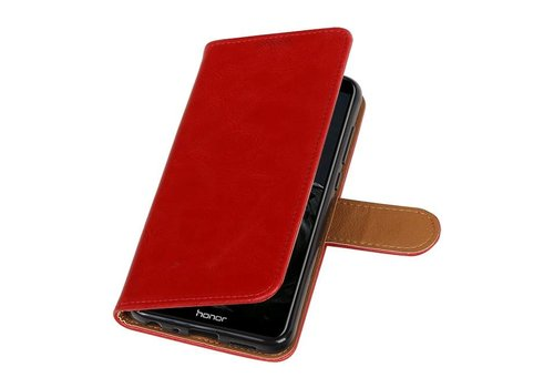 Pull Up PU Leder Bookstyle voor Huawei P Smart Rood