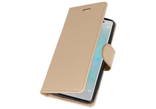 Wallet Cases Hoesje voor Xperia XZ2 Compact Goud