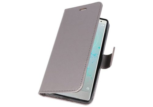 Wallet Cases Hoesje voor Xperia XZ2 Grijs