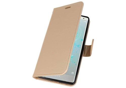 Wallet Cases Hoesje voor Xperia XZ2 Goud