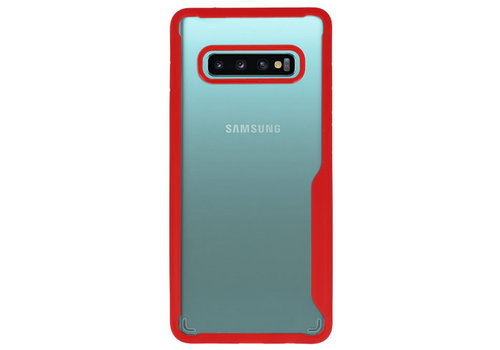Focus Transparant Hard Cases voor Samsung Galaxy S10 Plus Rood