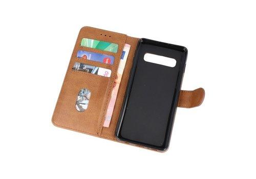 Bookstyle Wallet Cases Hoesje voor Samsung S10 Bruin