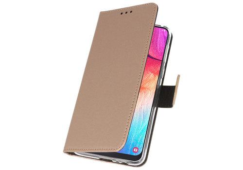 Wallet Cases Hoesje voor Samsung Galaxy A50 Goud