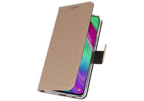 Wallet Cases Hoesje voor Samsung Galaxy A40 Goud