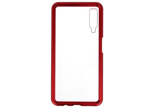 Magnetic Back Cover voor Galaxy A7 2018 Rood - Transparant