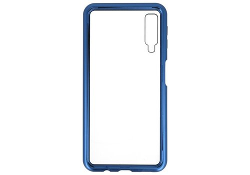 Magnetic Back Cover voor Galaxy A7 2018 Blauw - Transparant
