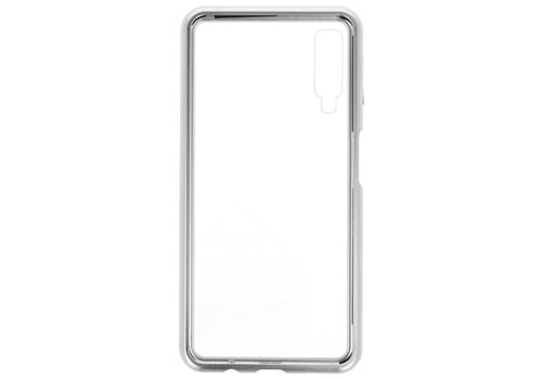 Magnetic Back Cover voor Galaxy A7 2018 Zilver - Transparant