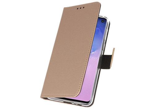 Wallet Cases Hoesje voor Samsung Galaxy S10 Goud