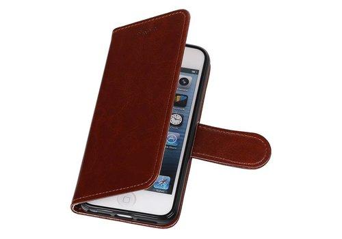 iPhone 5 Portemonnee hoesje booktype wallet case Bruin
