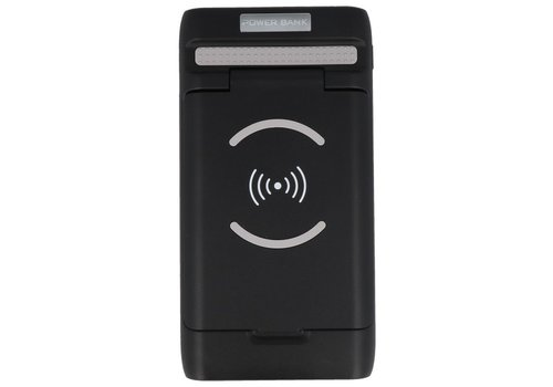 PowerBank + Draadloze Oplader + Bureaulader met Stand Zwart