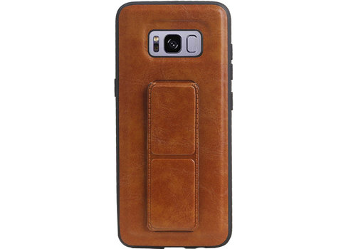 Grip Stand Hardcase Backcover voor Samsung Galaxy S8 Bruin