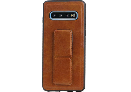 Grip Stand Hardcase Backcover voor Samsung Galaxy S10 Bruin