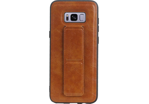 Grip Stand Hardcase Backcover voor Galaxy S8 Plus Bruin