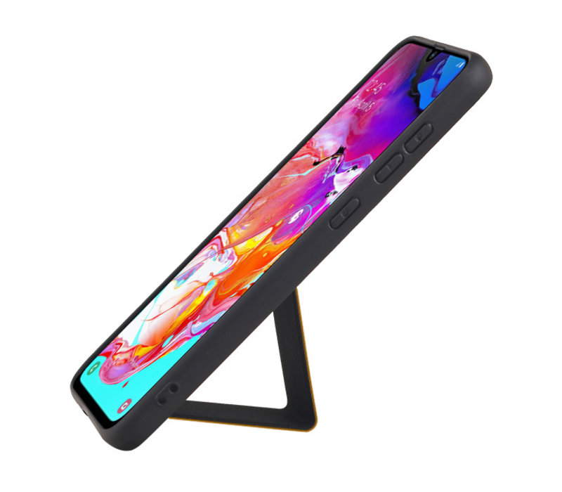 Grip Stand Hardcase Backcover voor Samsung Galaxy A70 Bruin