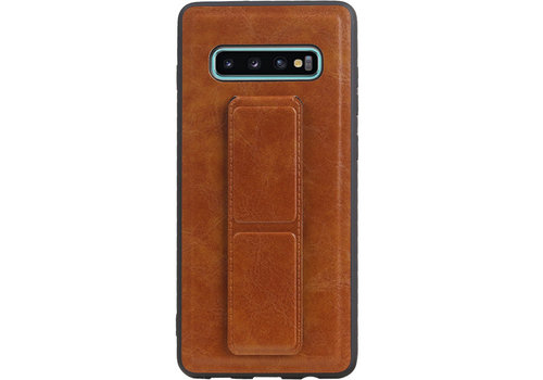 Grip Stand Hardcase Backcover voor Galaxy S10 Plus Bruin