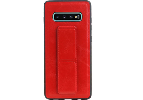 Grip Stand Hardcase Backcover voor Galaxy S10 Plus Rood