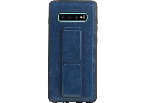 Grip Stand Hardcase Backcover voor Galaxy S10 Plus Blauw
