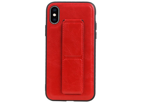 Grip Stand Hardcase Backcover voor iPhone XS / X Rood
