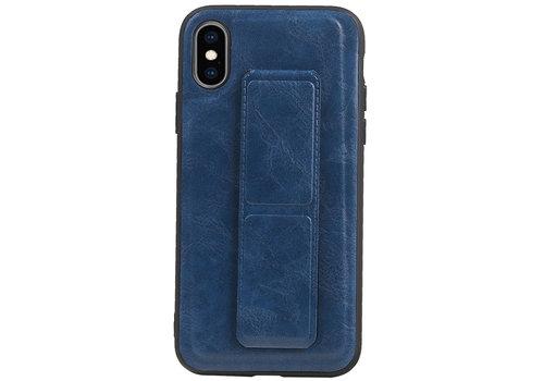 Grip Stand Hardcase Backcover voor iPhone XS / X Blauw