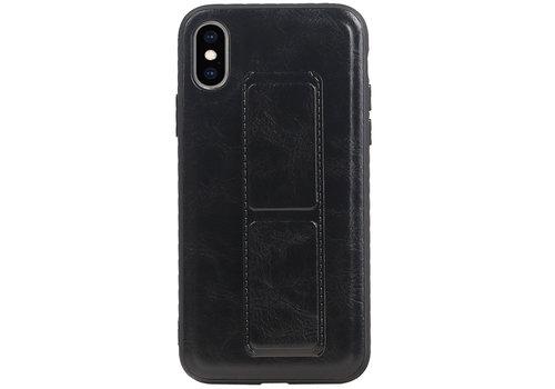 Grip Stand Hardcase Backcover voor iPhone XS / X Zwart