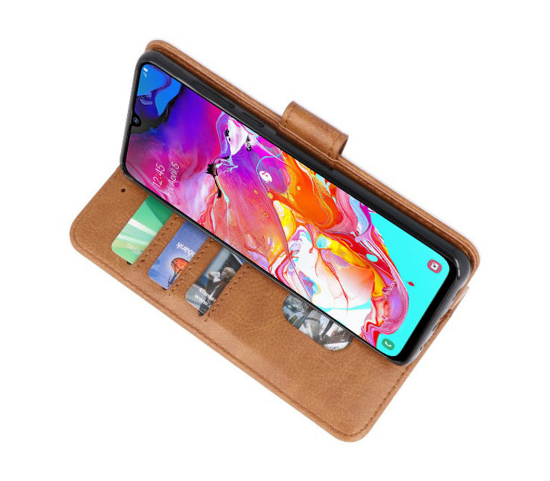 Bookstyle Wallet Cases Hoesje voor Samsung Galaxy A70 Bruin