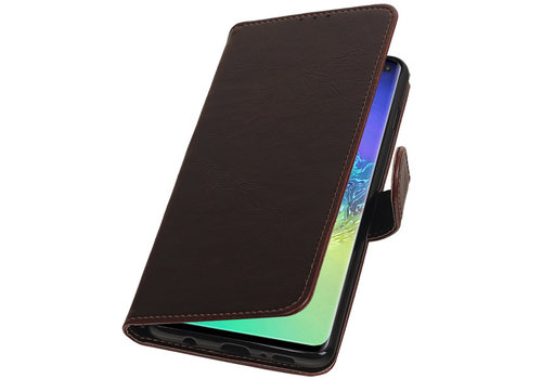 Pull Up Bookstyle voor Samsung Galaxy S10 Plus Mocca