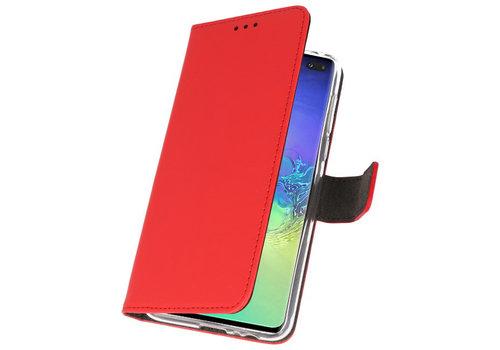 Wallet Cases Hoesje voor Samsung Galaxy S10 Plus Rood