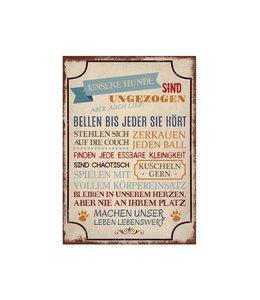 """Interluxe - Shabby Vintage Holzschild """"Unsere Hund sind ..."""""""