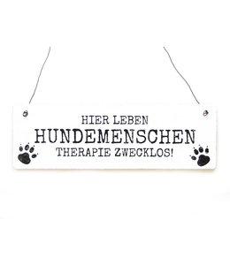 """Interluxe - Shabby Vintage Holzschild """"Hier leben Hundemenschen"""""""