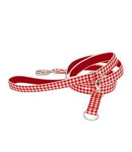 Harry Barker - Gingham Hundeleine rot