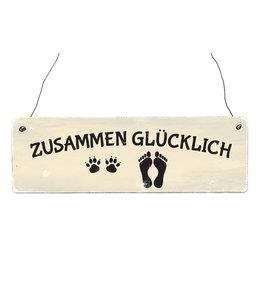 """Interluxe - Shabby Vintage Holzschild """"Zusammen glücklich"""""""