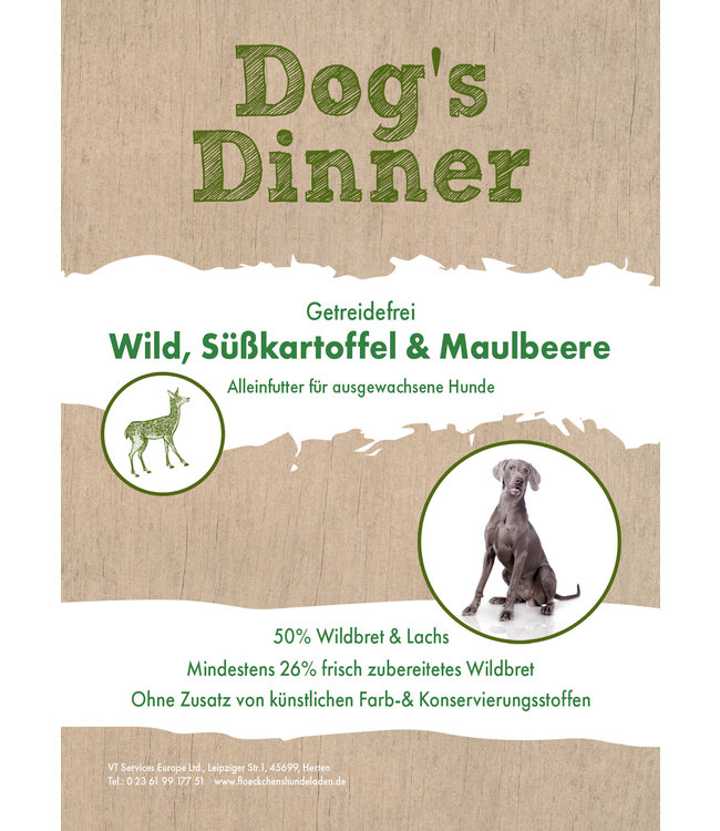 Dogs Dinner - Trockenfutter Wild, Süßkartoffel & Maulbeere