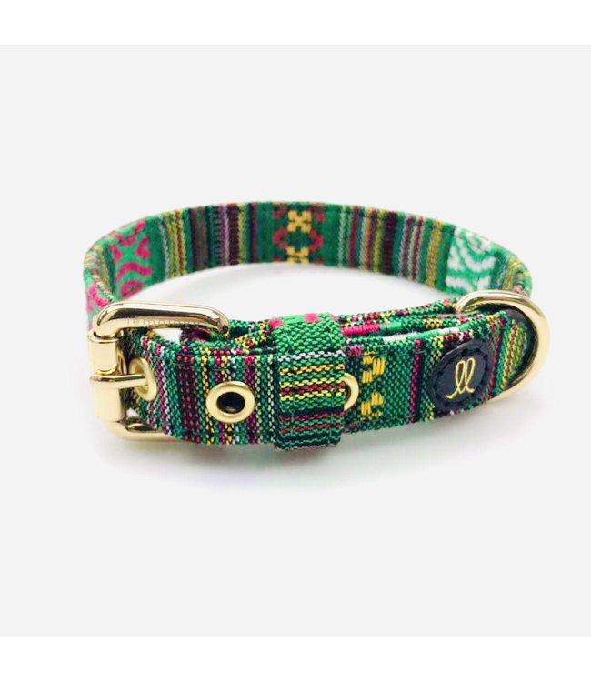 Lemolove - Hundehalsband Hippie Yay grün