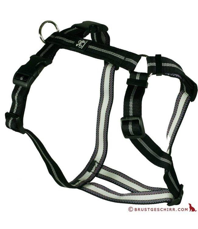 Feltmann - Hundegeschirr - Brustgeschirr Soft Nylonband Streifen schwarz