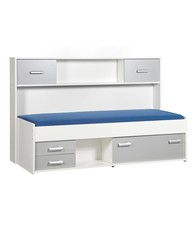 BEUK Bed met opbergruimte - Incl deuren - Aluminium - Wit - Effen