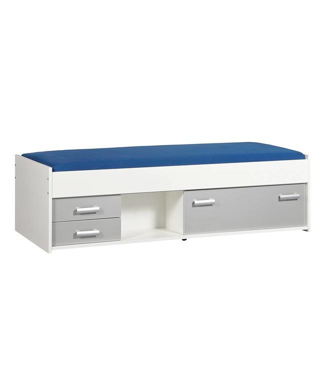BEUK Bedframe 90X200 cm Incl Laden + 1 Klep Aluminium - Wit - Effen