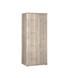 BEUK Kledingkast 1 Deur + 4 Fronten/deuren - Donker Grijs Hout  - Budel