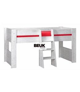 BEUK Hoogslaper 90x200 cm – licht grijs – incl trap en uitvalbeveiliging – Son