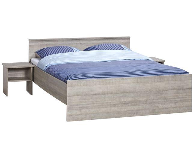 BEUK Bedframe 160x220 cm - Incl. Middenbalk - Donker Grijs Hout – Bavel