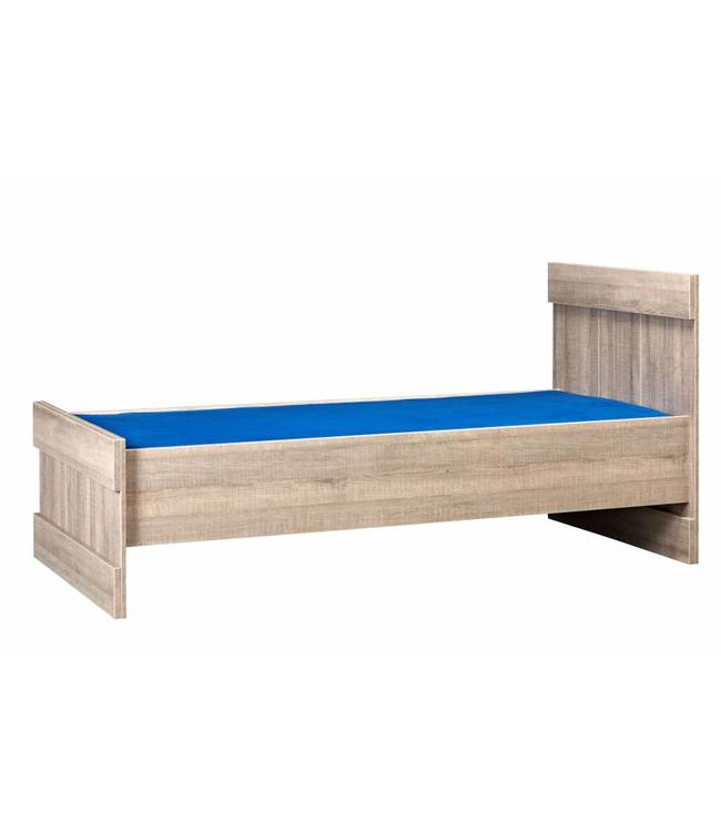 BEUK Bed 90x200 - Donker grijs hout - Storm