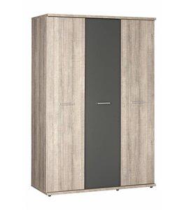 Kledingkast 3 deurs - Donker grijs hout - Baarle-Nassau