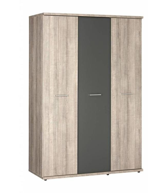 BEUK Kledingkast 3 deurs - 200 x 134 x 58cm - Donker grijs hout - Baarle-Nassau