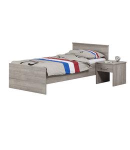 BEUK Bedframe   90X210 cm  - Donker Grijs Hout -  Bavel