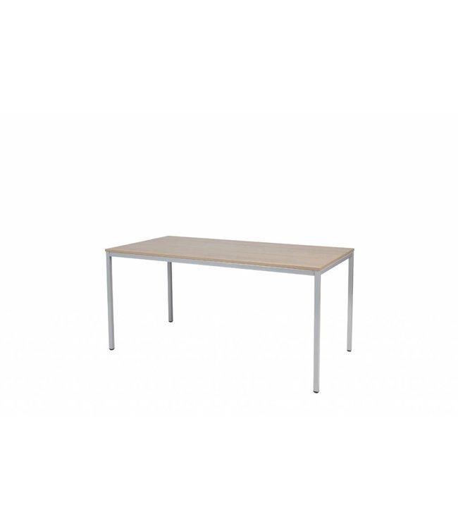 BEUK Bureautafel - Donker Grijs Hout - Alu Frame - 120x60