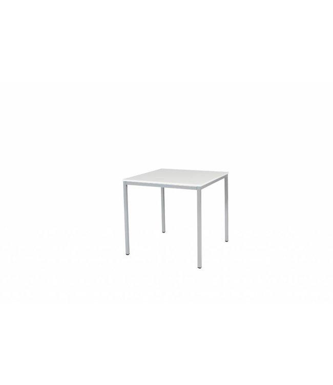 BEUK Bureautafel - Licht Grijs Hout - Alu Frame - 80x80